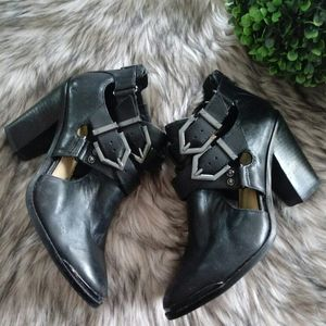 Gianni Bini Buckle Black Leather Cutout Booties